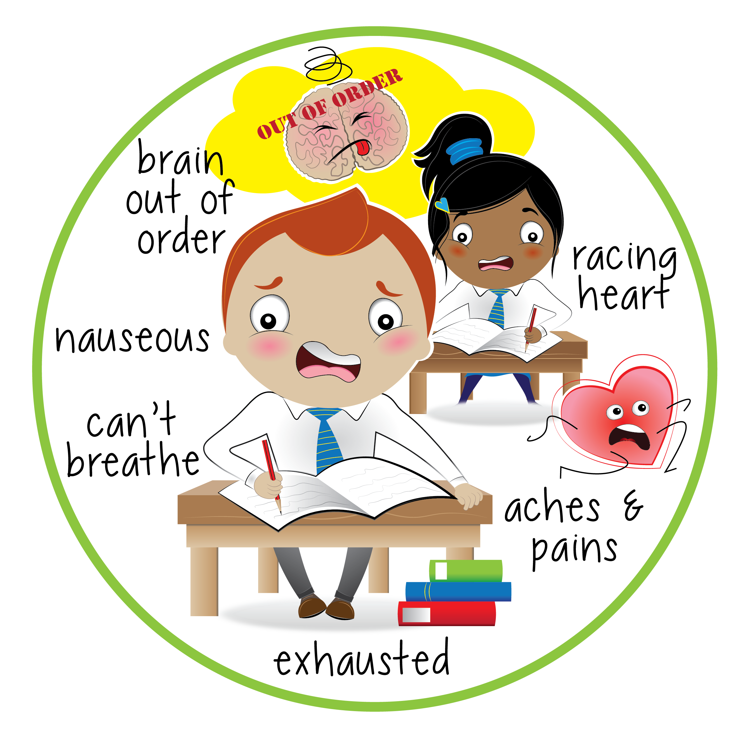Anxiety results in feeling exhausted, aches and pains, brain being our of order, racing heart